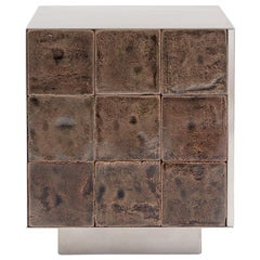 Tile Game Side Table with handcrafted tiles and brushed stainless steel