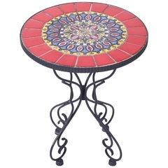 Tile Top and Iron Tabouret or Table