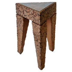 Tile Top Brutalist Terracotta Side Table