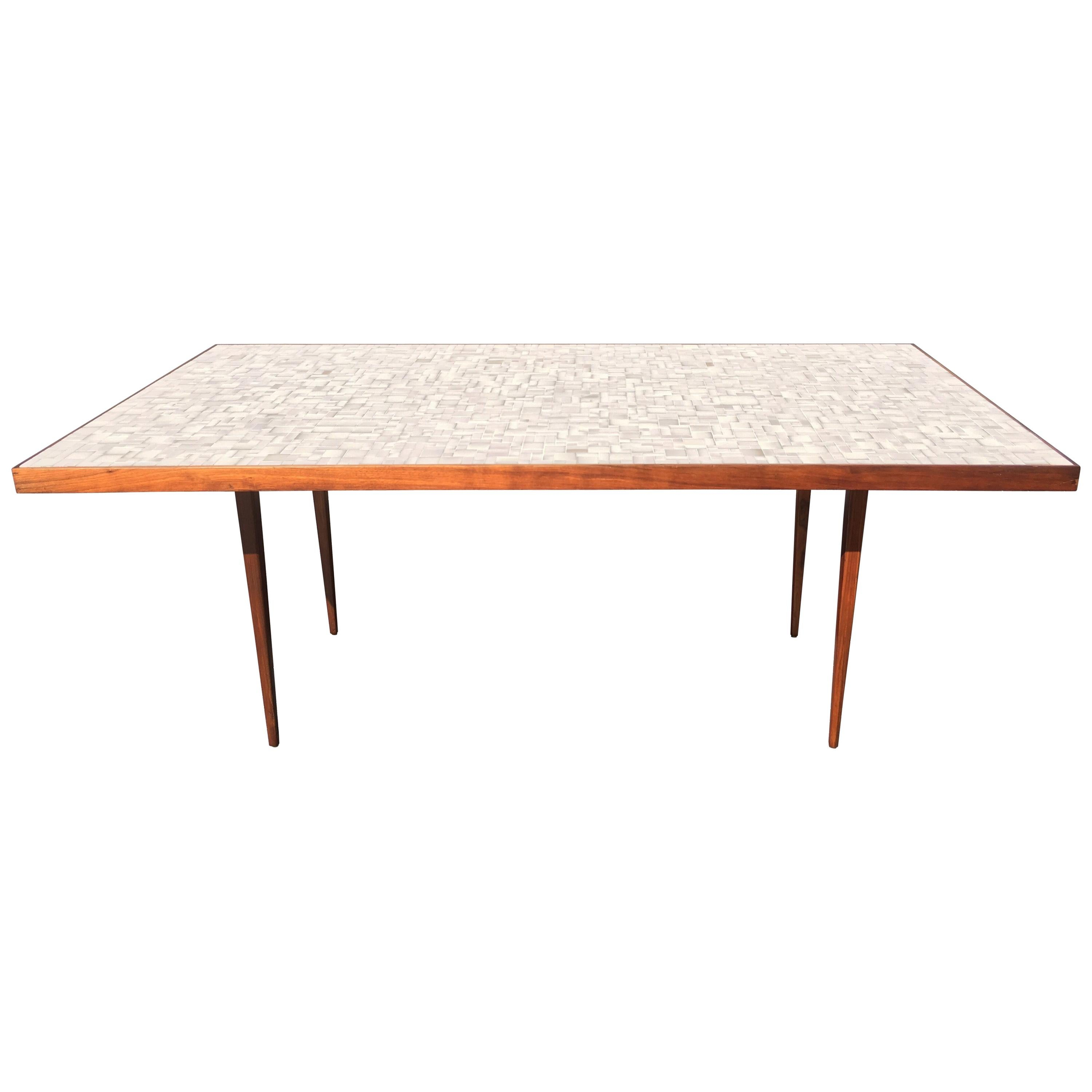 Tile Top Dining Table or Desk in the Style of Gordon Jane Martz, Walnut, Mosaic