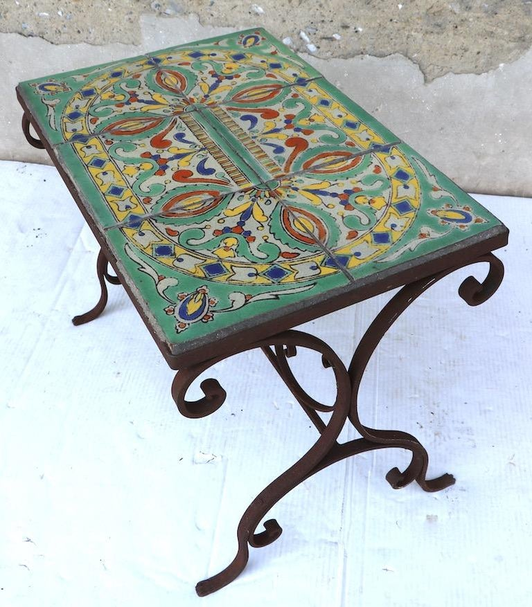 Tile Top Garden Patio Table in the Style of Catalina Pottery For Sale 3