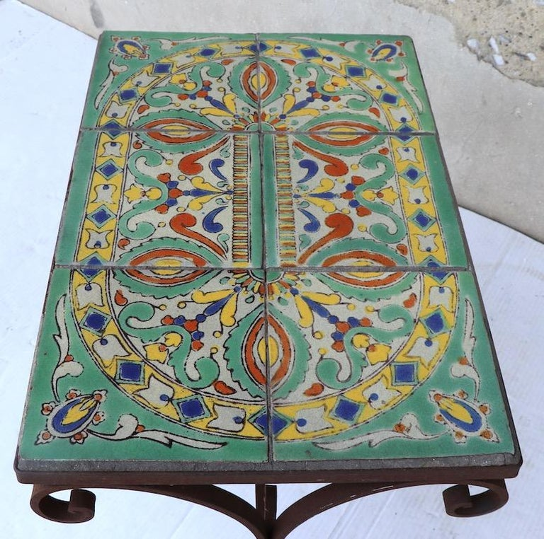 Tile Top Garden Patio Table in the Style of Catalina Pottery For Sale 4