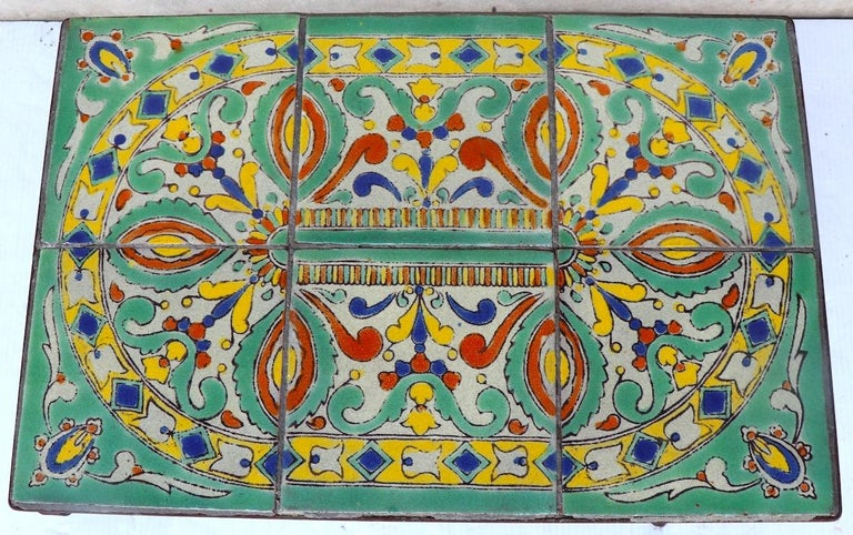 Arts and Crafts Tile Top Garden Patio Table in the Style of Catalina Pottery For Sale