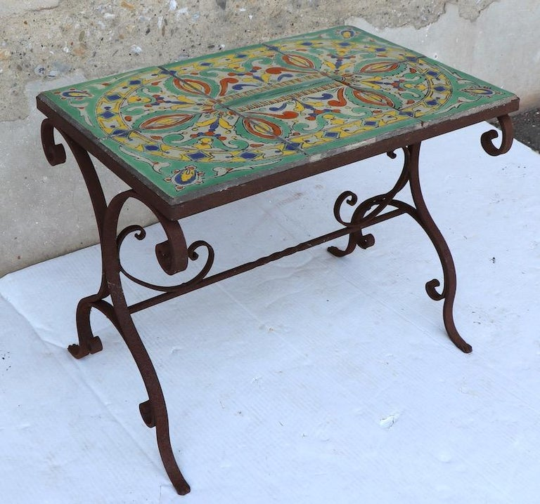 Tile Top Garden Patio Table in the Style of Catalina Pottery In Good Condition For Sale In New York, NY