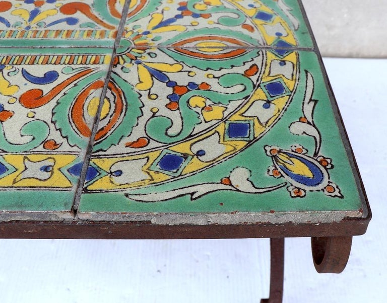 Ceramic Tile Top Garden Patio Table in the Style of Catalina Pottery For Sale