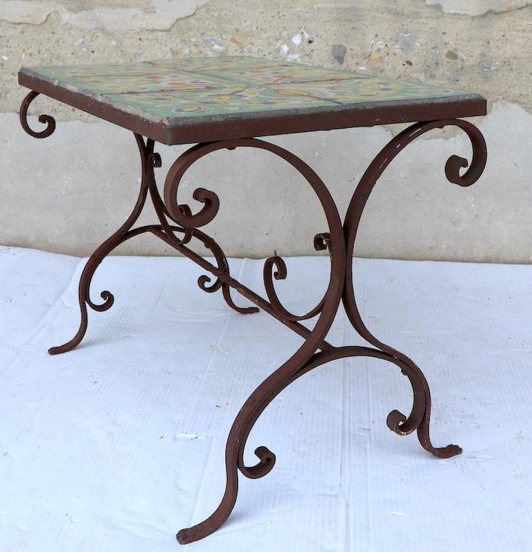 Tile Top Garden Patio Table in the Style of Catalina Pottery For Sale 1