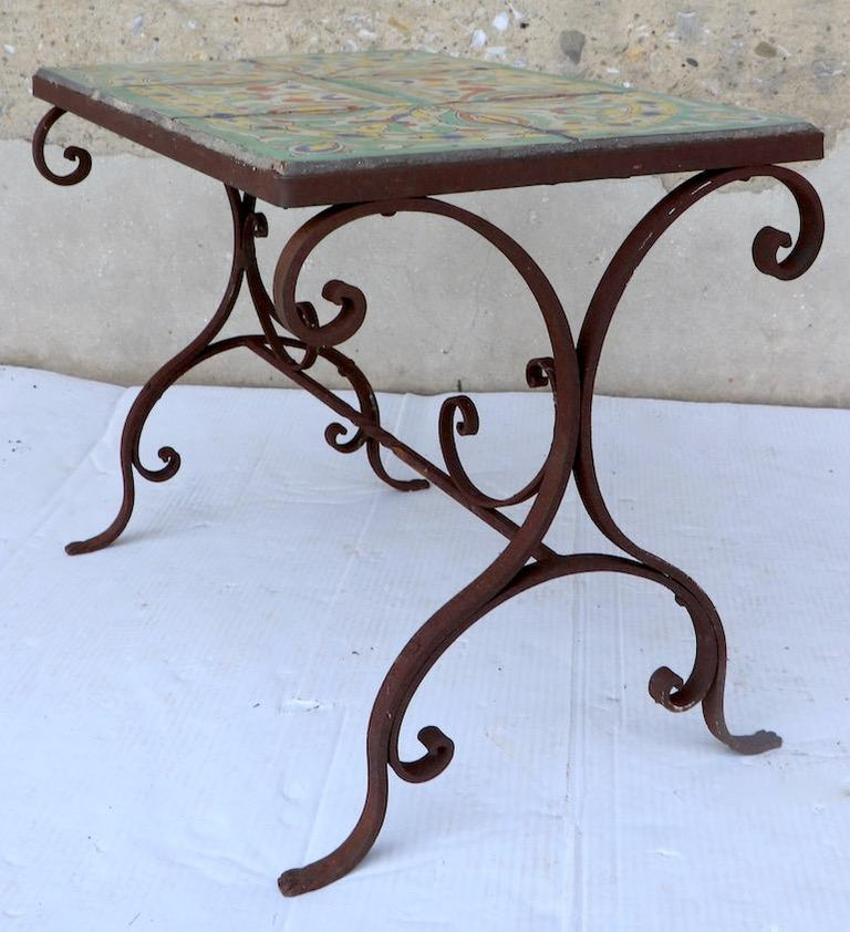 Tile Top Garden Patio Table in the Style of Catalina Pottery For Sale 2