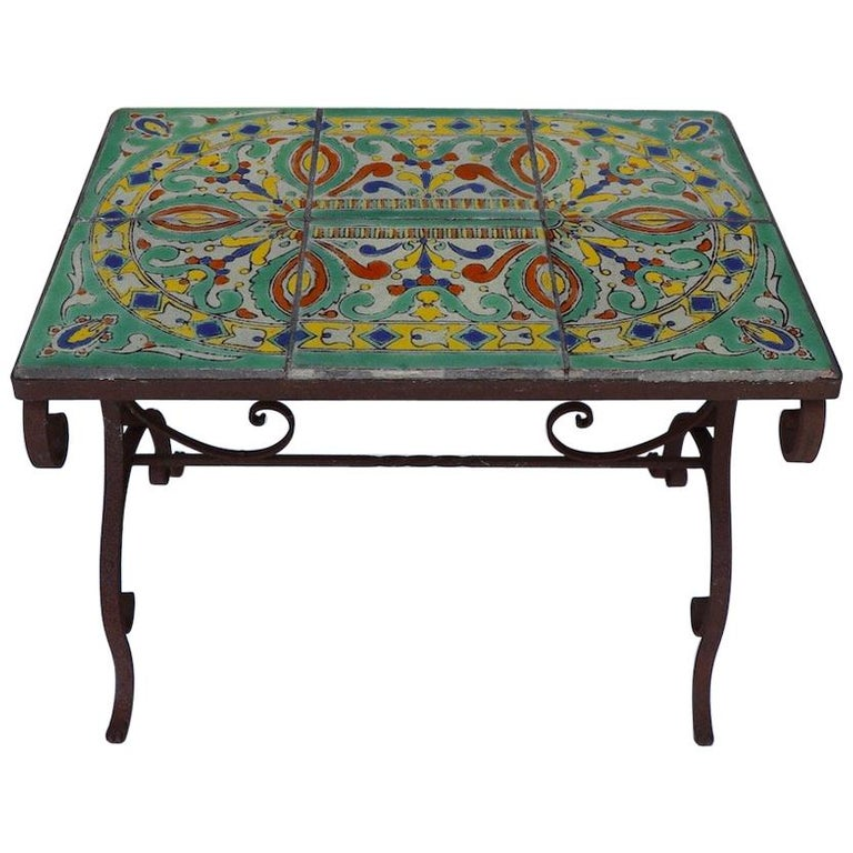 Tile Top Garden Patio Table in the Style of Catalina Pottery For Sale