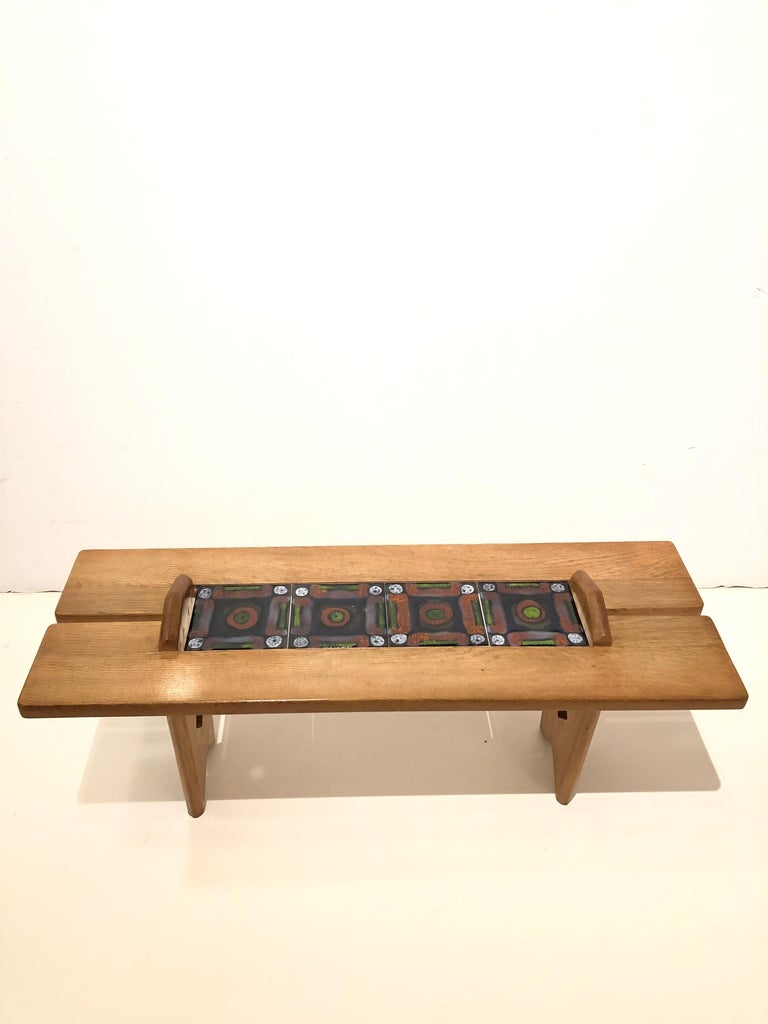 French Tile Top Table by Guillerme et Chambron For Sale