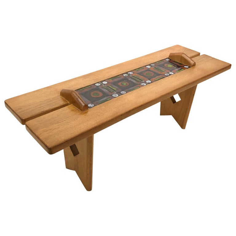 Tile Top Table by Guillerme et Chambron For Sale