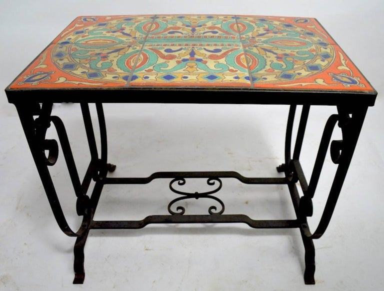 Ceramic Tile Top Wrought Iron Base Table Attributed to Catalina Pottery For Sale