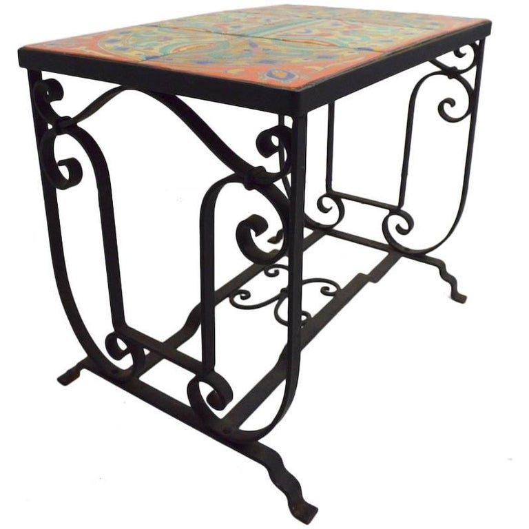 Tile Top Wrought Iron Base Table Attributed to Catalina Pottery For Sale