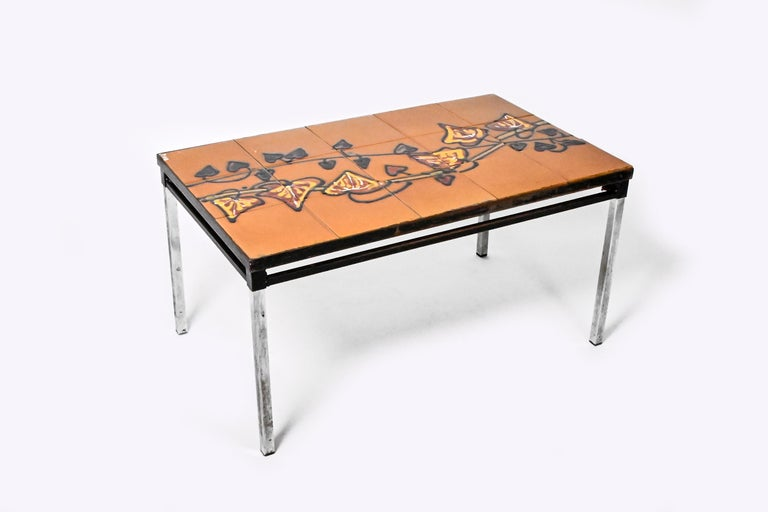 Mid-Century Modern Midcentury Belgian Tiled Coffee Table by Adri For Sale
