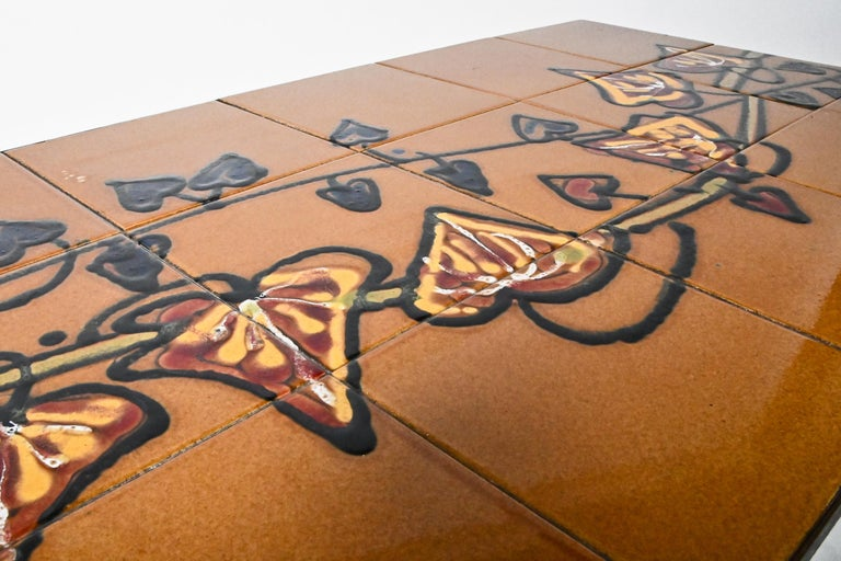 Midcentury Belgian Tiled Coffee Table by Adri In Good Condition For Sale In  Budapest, HU
