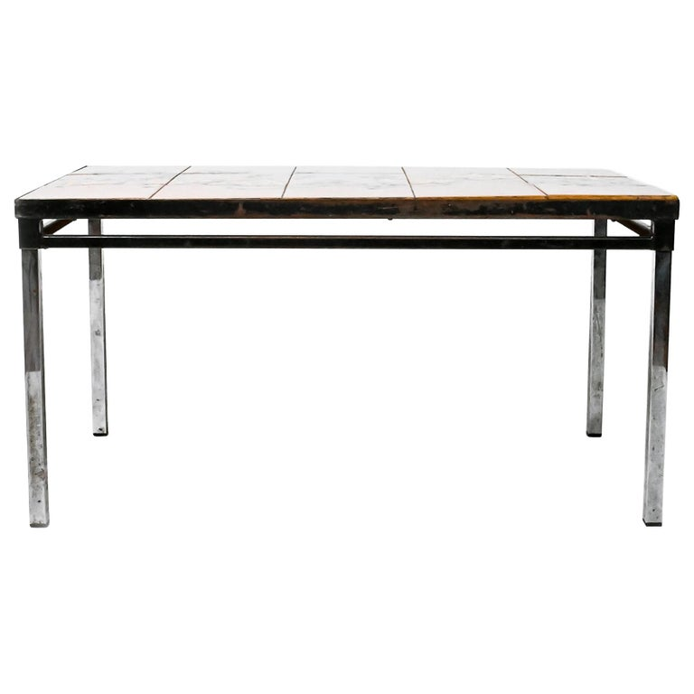 Midcentury Belgian Tiled Coffee Table by Adri For Sale