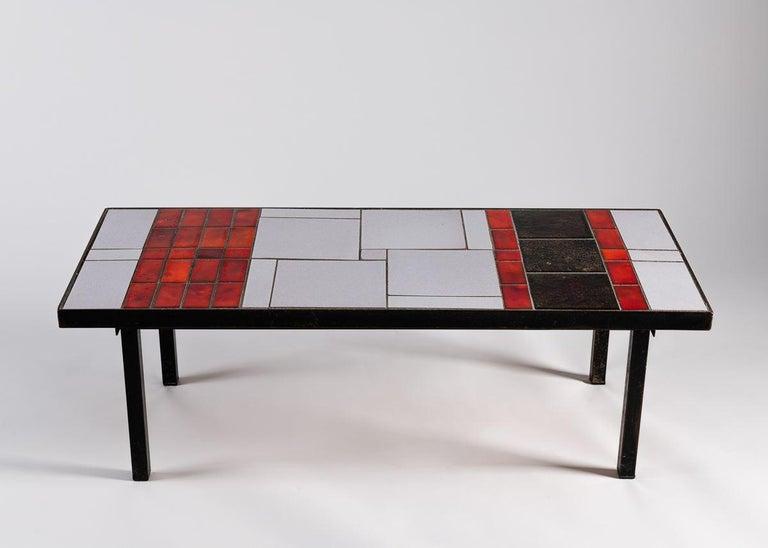 Mid-Century Modern Tiled Coffee Table, Glazed Ceramic Tile Top, Metal Base, France, 1960s For Sale