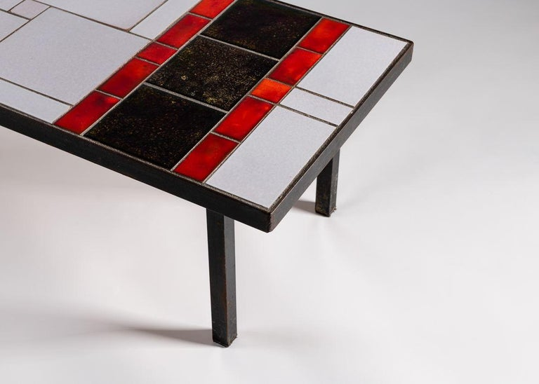 French Tiled Coffee Table, Glazed Ceramic Tile Top, Metal Base, France, 1960s For Sale