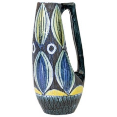 Tilgmans Keramik Swedish Painted Art Pottery Handled Vessel