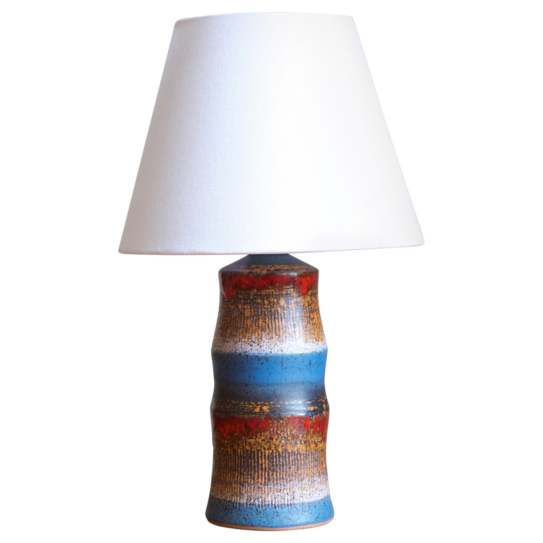 Tilgmans, Table Lamp, Glazed Stoneware, Fabric, Sweden, 1950s