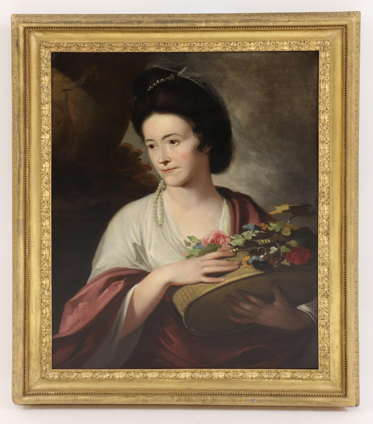 18th century English portrait of a lady beside an urn, with a basket of flowers - Painting by Tilly Kettle