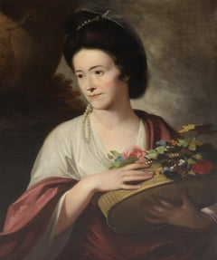 18th century English portrait of a lady beside an urn, with a basket of flowers