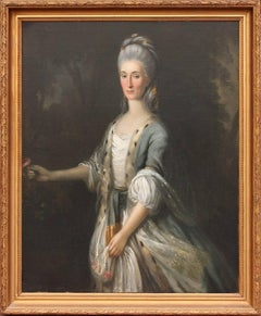 18th Century Oil Painting Portrait of Aristocratic Lady in India by Tilly Kettle