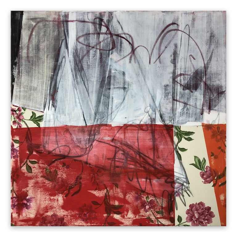 Curtains Included (Abstract Painting)  Acrylic and oil stick on curtain - Unframed.  This artwork is exclusive to IdeelArt.  Tim Fawcett's paintings point towards the legacy of Art Brut, establishing a midpoint between abstraction and representation