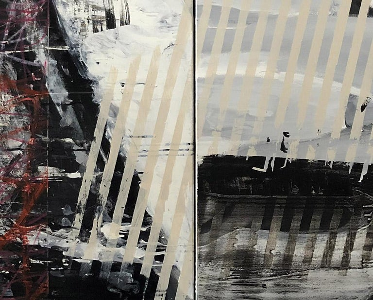 Daily Fish Wrap (Abstract painting) - Gray Abstract Painting by Tim Fawcett