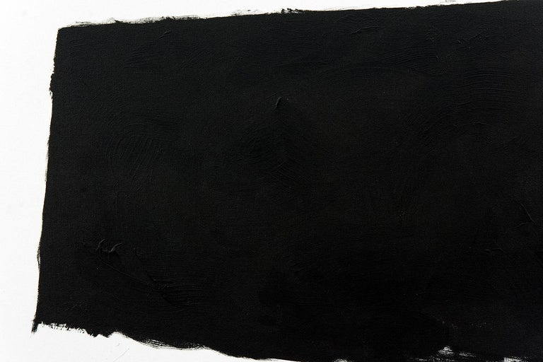 Broad brushstrokes in midnight black form an angled shape on white in this bold composition by Tim Forbes.  After completing studies at the Nova Scotia College of Art and Design in Halifax, Tim Forbes established a graphic design studio and