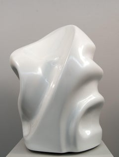 Sage AP - white, swirling, gestural abstract, resin sculpture