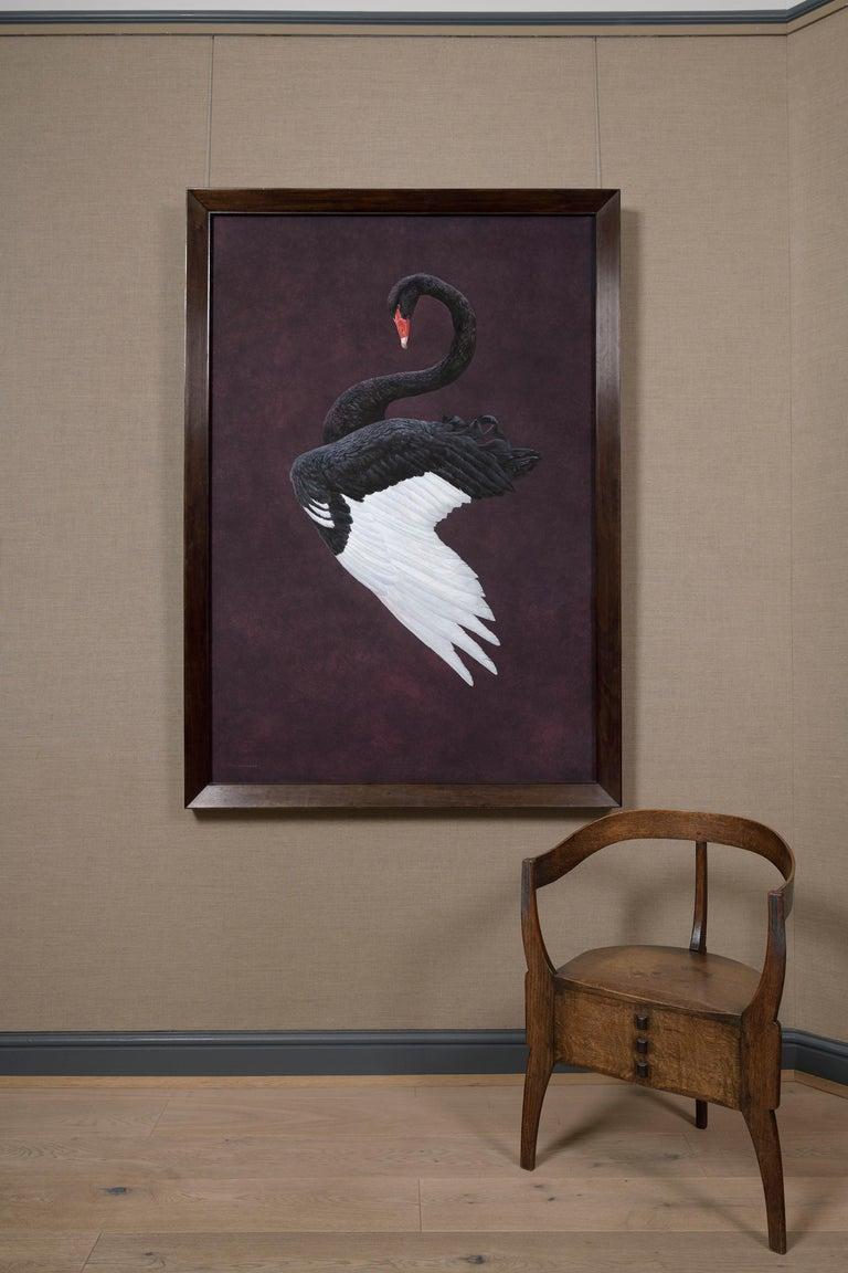 Black Swan - Aubergine - Contemporary Painting by Tim Hayward