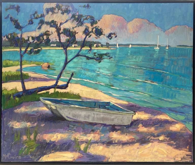 Little Boat on the Beach - American Impressionist Painting by Tim McGuire