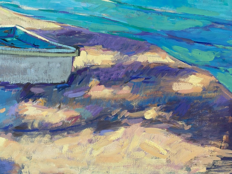 Little Boat on the Beach - Blue Still-Life Painting by Tim McGuire