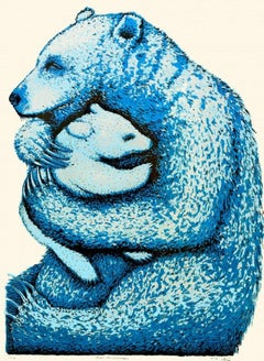 Tim Southall, Bear Hugs (Cerulean), Limited edition animal print