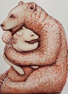 Tim Southall, Bear Hugs (Coral), Animal Art, Affordable Art, Limited Edition Art
