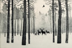 Tim Southall, Deer in Winter, Contemporary Etching, Animal Print, Affordable Art