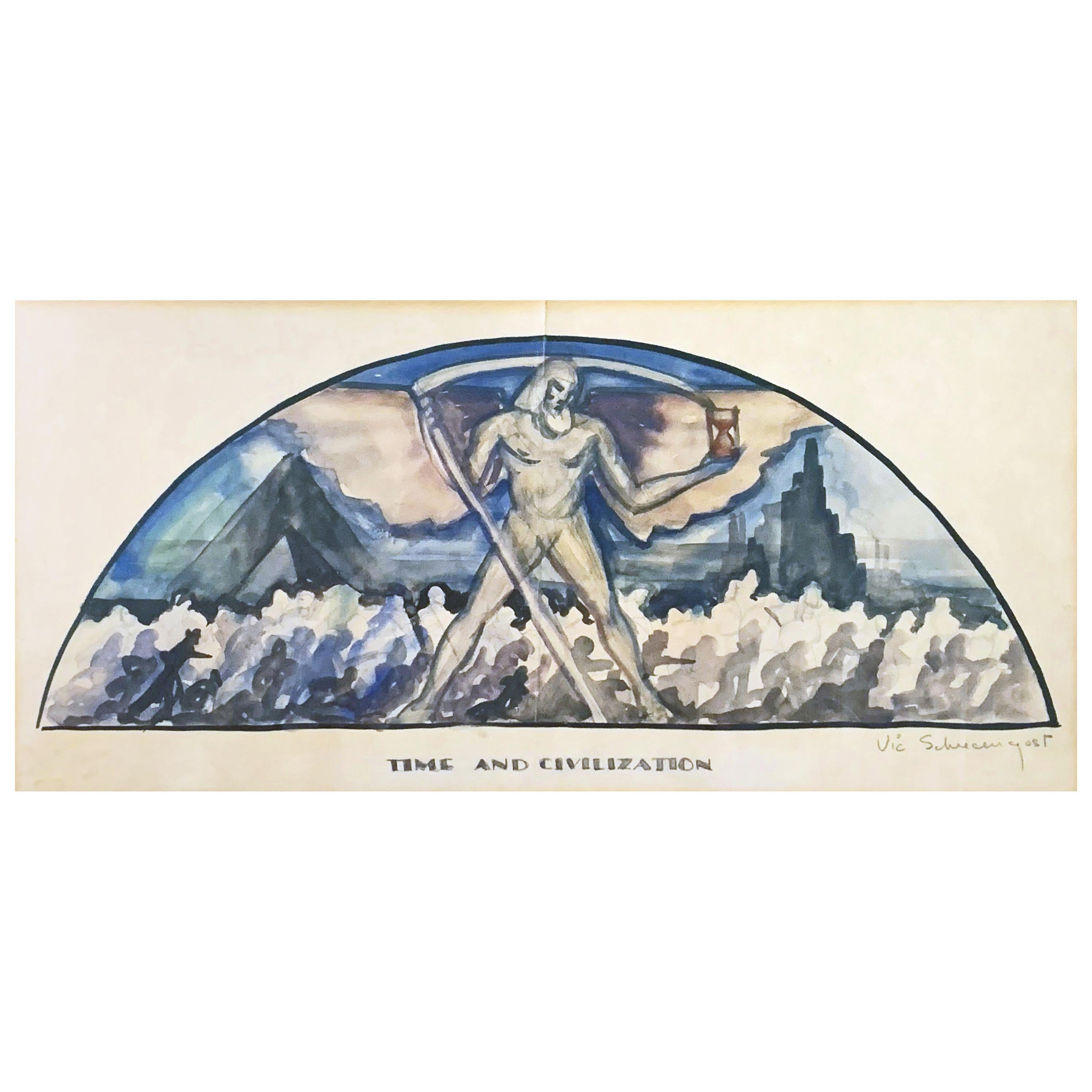 """""""Time and Civilization,"""" Newly Discovered Art Deco Mural Studies, Schreckengost"""