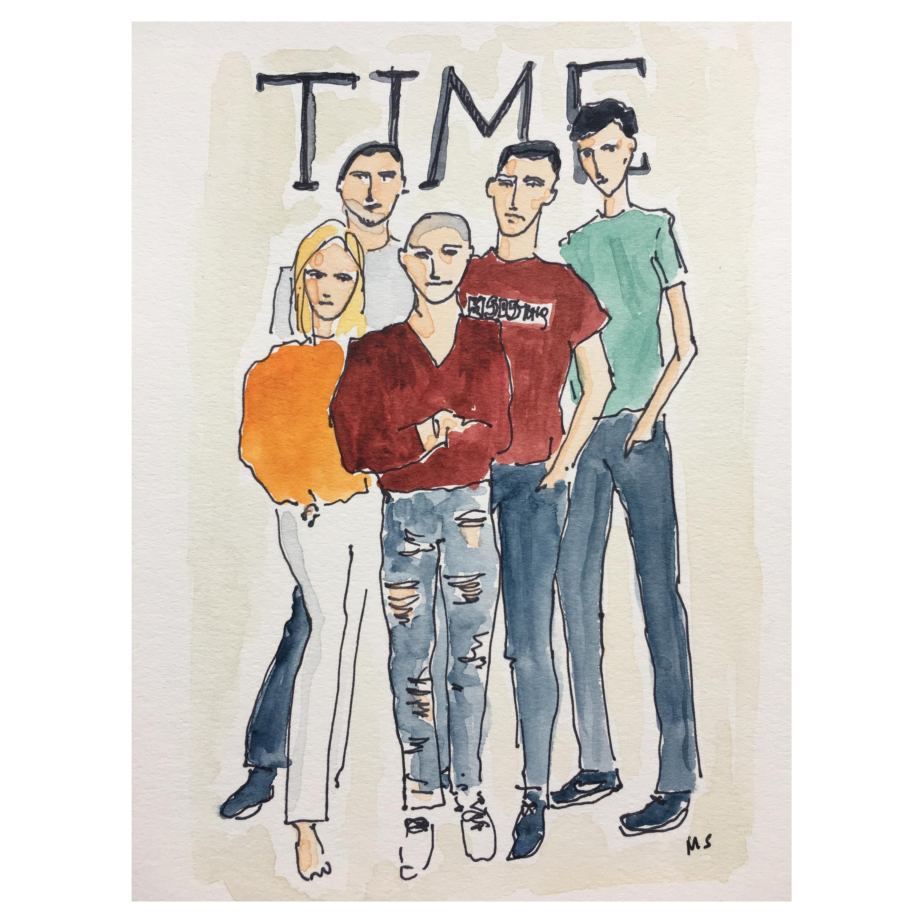 Time Cover, Watercolor and Ink on Paper