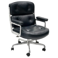 Time Life Executive Desk Chair by Charles and Ray Eames. Dark Gray Blue Leather