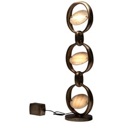 Time Table Lamp in Onyx and Bronze-Patina Brass by Patrick Coard, Paris