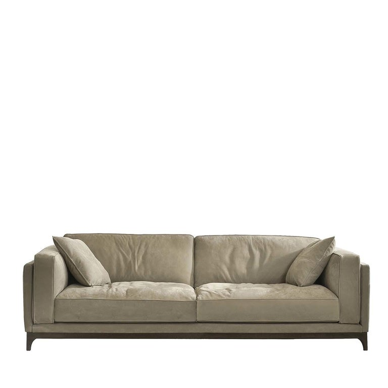 Time Taupe Leather Sofa For