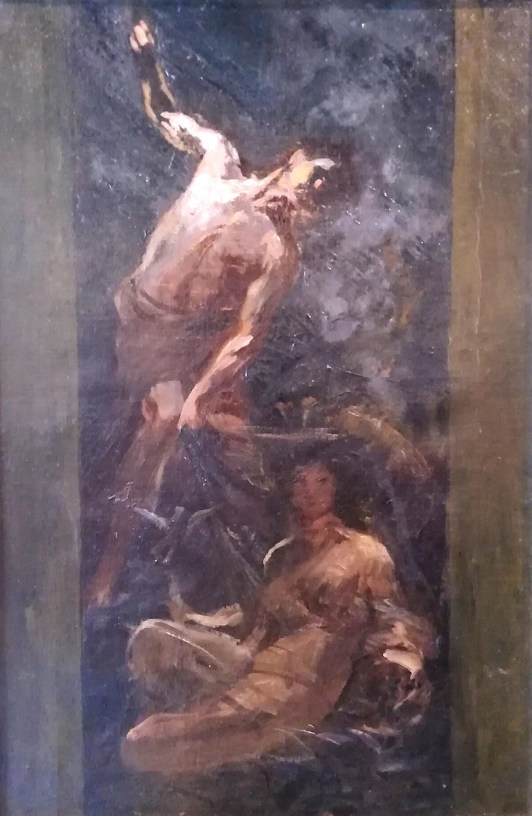 Augusto Guglielmo Stoppoloni (San Severino Marche 1866 - Gubbio 1936) Time that reveals the Truth Provenance: Heirs of the Painter , Not Signed  Augusto was born in San Severino Marche to Antonio and Anna Trotti. He was noted for his drawing