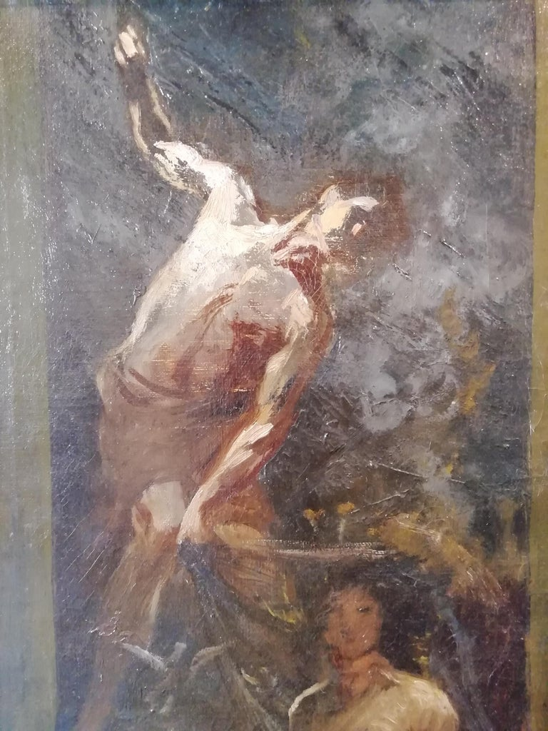Time That Reveals the Truth, Augusto Stoppoloni Oil on Canvans Italian Painting In Good Condition For Sale In Rome, Italy