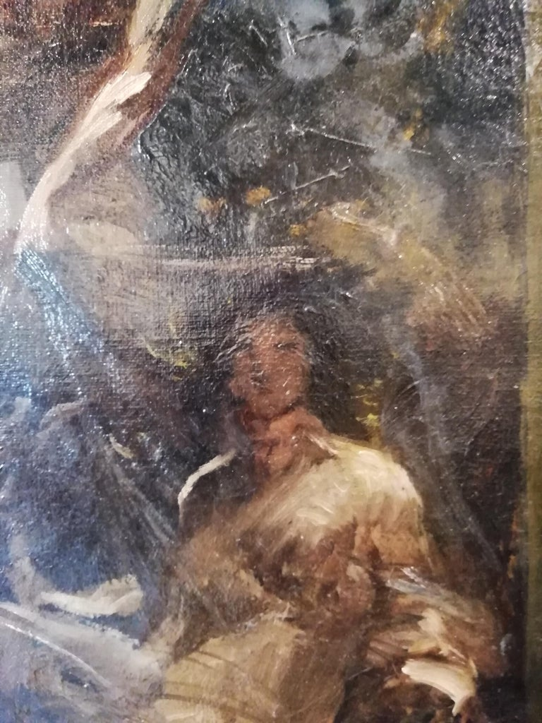 1880s Time That Reveals the Truth, Augusto Stoppoloni Oil on Canvans Italian Painting For Sale