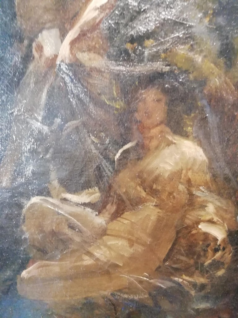 Time That Reveals the Truth, Augusto Stoppoloni Oil on Canvans Italian Painting For Sale 3