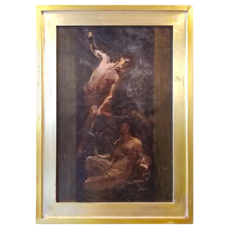Time That Reveals the Truth, Augusto Stoppoloni Oil on Canvans Italian Painting For Sale