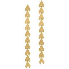 Timeless 14K Solid Gold Arrow Shaped Greek Drop Earrings