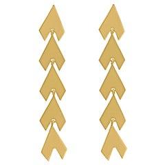 Timeless 18 Karat Gold-Plated Brass Arrow Shaped Greek Drop Earrings