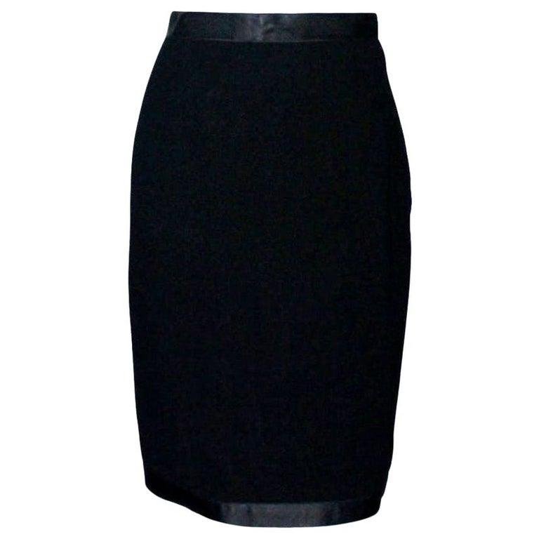 Timeless Black Chanel Tuxedo-Style Evening Skirt For Sale