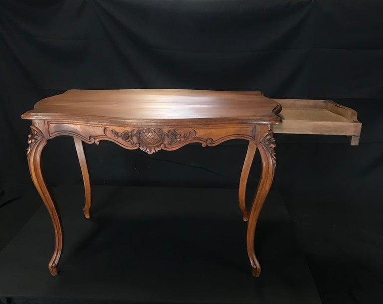 Timeless Carved French Walnut Louis XV Table or Writing Desk with One Drawer For Sale 5